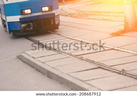 Tram on Tramway in Tallinn - stock photo