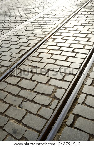 Tram rail close up in Lisbon, Portugal. - stock photo
