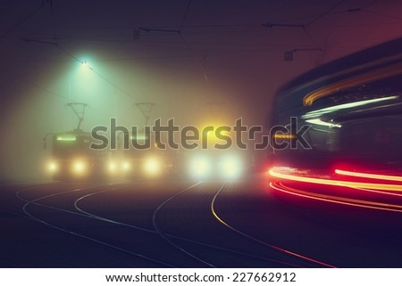 Tram station at the night, Prague, Czech Republic - stock photo