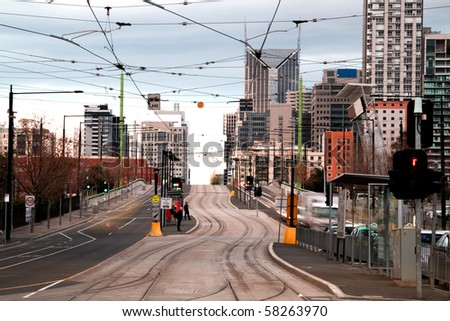 Tram tracks in Melboure city. - stock photo
