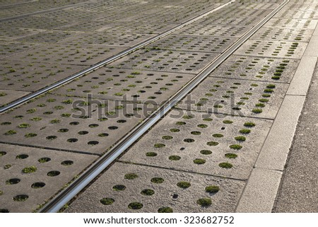 Tram Tracks in Sunlight in Vienna, Austria