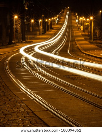 tram tracks with trams - stock photo