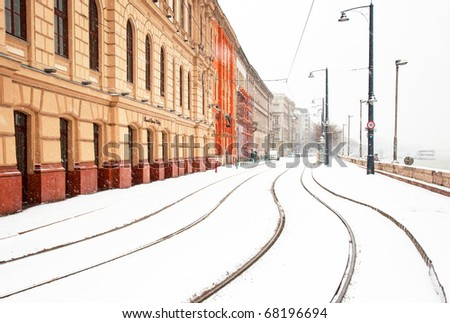 Tramlines in Budapest at winter with snow