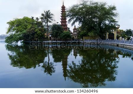 Tran Quoc Pagoda, oldest pagoda in Vietnam. - stock photo
