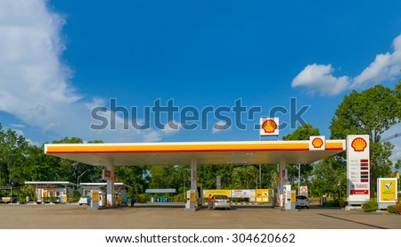 Trang, 30 june 2015: Shell gas station in Trang Muang district, Trang province, Thailand. Royal Duch Shell is largest oil company in the world