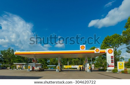 Trang, 30 june 2015: Shell gas station in Trang Muang district, Trang province, Thailand. Royal Duch Shell is largest oil company in the world - stock photo