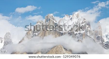 Trango Towers Panorama, Karakorum Mountains, Pakistan - stock photo