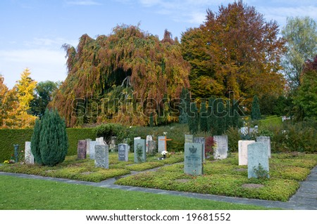 Tranquil cemetery in peaceful autumn woodland setting