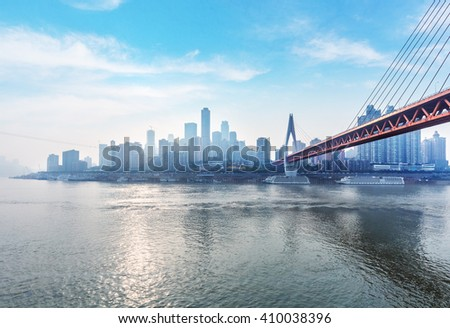 tranquil cityscape of chongqing under blue sky,chongqing china. - stock photo