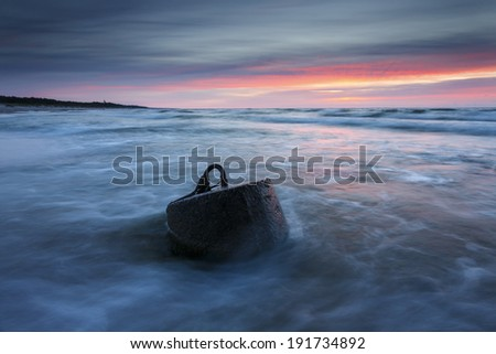 Tranquil Coastal Sunset on the Baltic sea beach. Leba (?eba) city/ Tranquil Coastal Sunset  - stock photo