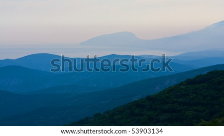 tranquil evening scene in mountains