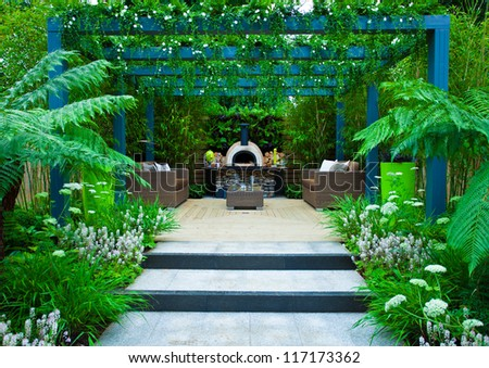 Tranquil garden. Patio area - stock photo