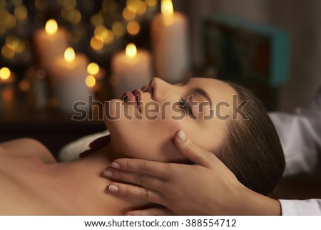Tranquil scene of woman at Spa  - stock photo