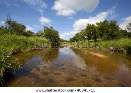 Tranquil, Scenic river in the african bush - stock photo
