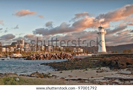 tranquil sunrise at the lighthouse wollongong nsw - stock photo