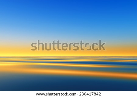 tranquil sunset over calm sea - stock photo