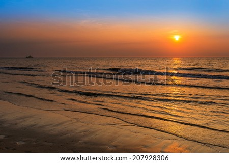 Tranquil Sunset Over The North Sea at Scheveningen, The Netherlands - stock photo