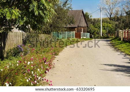 Tranquil village with wooden house, flowers and road