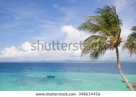 Tranquil water around a tropical beach. Turquoise color water.