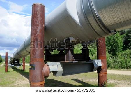 Trans Alaska Oil Pipeline - stock photo