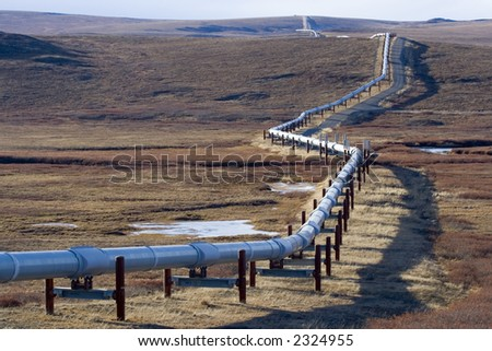 Trans Alaska Pipeline - stock photo