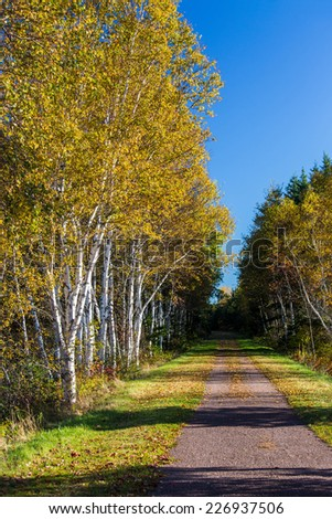 Trans Canada Trail, or known as the Confederation Trail that runs the length of   Prince Edward Island, Canada. - stock photo