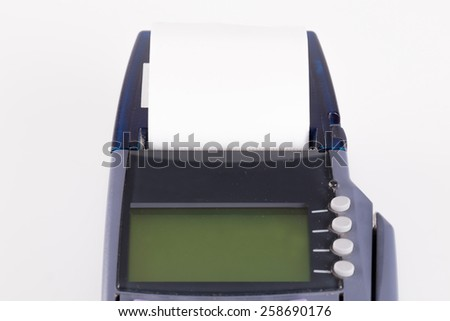 Transaction Paper On Credit card machine - stock photo