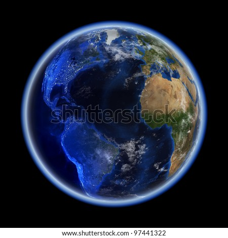 Transatlantic. Elements of this image furnished by NASA - stock photo