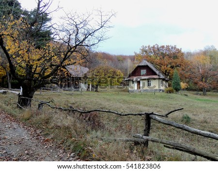 Transcarpathia, Ukraine - October 30, 2016: forester house near of village Nevytske, in the Carpathian mountains