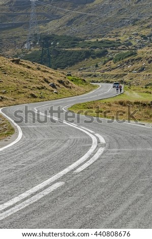 Transfagarasan mountain winding road in Carpathian mountains - stock photo