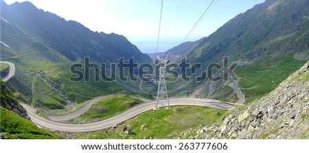 transfagarasan Road in the summer, spectacular view of the valley - stock photo