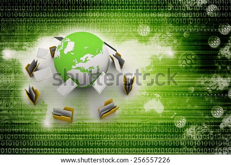 Transfer of documents. Forwarding files conceptual 3d illustration. - stock photo