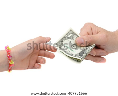 Transfer of money between adult and his child, isolated  - stock photo