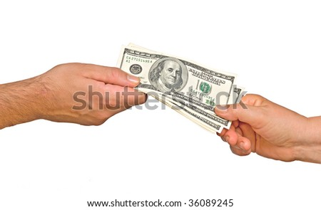 Transfer of money between man and woman - stock photo