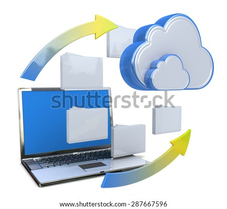 Transferring information or data to a cloud network server - stock photo