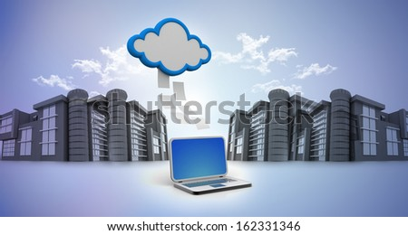 Transferring information or data to a cloud network server, urban area   - stock photo