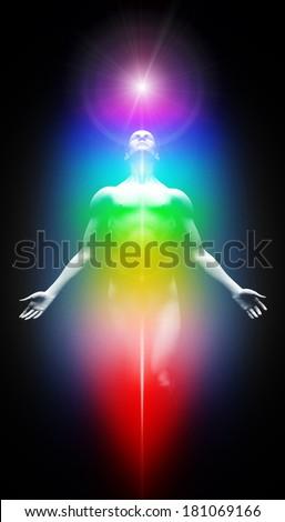 Transformation into light - stock photo