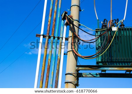 Transformer cluster of wires and cables and pole - devices for electric power distribution through : pole transformer wiring - yogabreezes.com