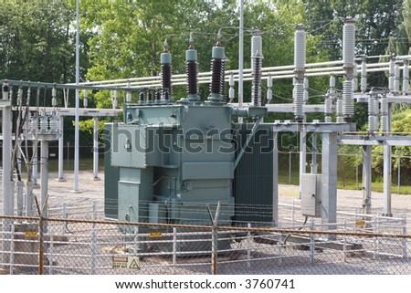 Transformer in a sub station - stock photo