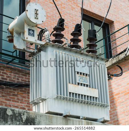 Transformer on high power station - stock photo