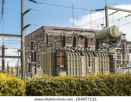 Transformer station for electricity - stock photo