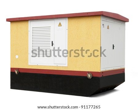 transformer substation on a white background - stock photo