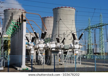 Transformers in the coal power plant - stock photo