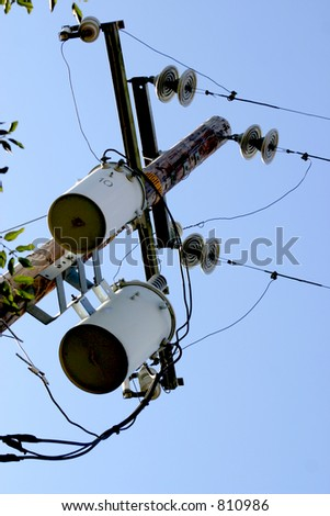 Transformers on Phone Pole - stock photo