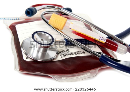 transfusion bloody - donate with stethoscope isolated on white background - stock photo