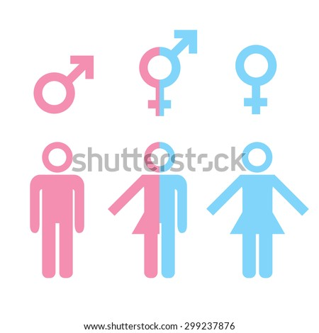 Transgender transsexual concept. Icon of different gender persons with male female marker. illustration on white background. - stock photo