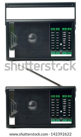Transistor radio isolated on white background