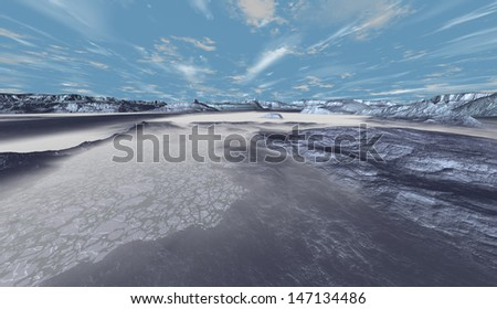 Transitional zones between various stages of polar meltdown  - stock photo