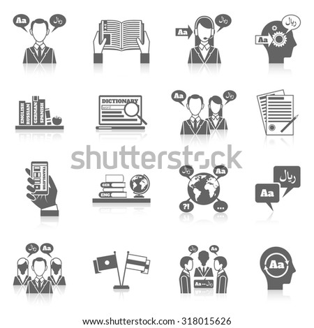 Translation and dictionary language education black icon set isolated  illustration
