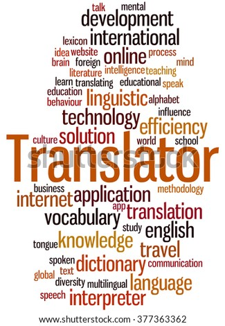 Translator, word cloud concept on white background.
